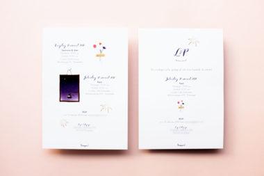 Bladergoud geillustreerde trouwkaart